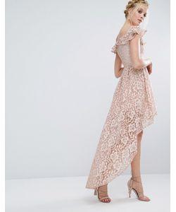 Chi Chi London | Кружевное Асимметричное Платье С Открытыми Плечами И Оборкой