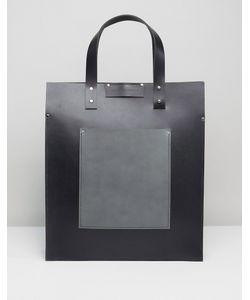Leather Satchel Company   Черная Сумка-Тоут С Серым Контрастным Накладным Карманом