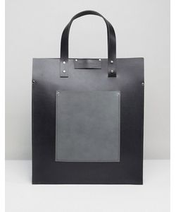 Leather Satchel Company | Tote With Contrast Patch Pocket