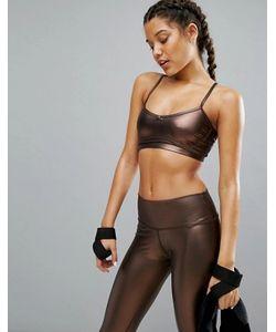 Haute Body | Укороченный Топ Металлик Медного Цвета Yoga
