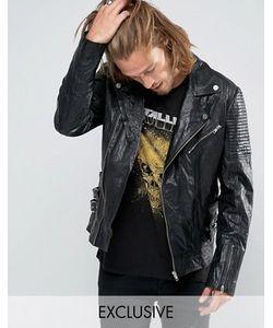 Black Phoenix | Черная Кожаная Байкерская Куртка С Ремешками Сбоку