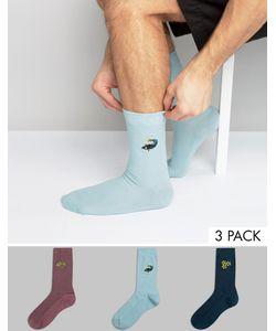 Asos | 3 Пары Вафельных Носков С Вышивкой