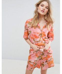 Asos   Комбинируемая Свободная Рубашка С Тропическим Принтом