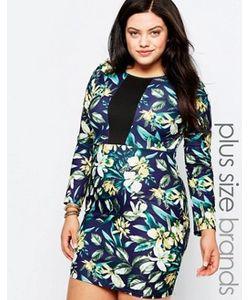 Praslin | Платье-Футляр С Цветочным Принтом И Контрастной Вставкой Plus