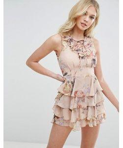 MISSGUIDED   Платье На Шнуровке С Рюшами И Цветочным Принтом