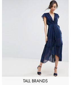 True Decadence Tall | Flutter Sleeve Midi Dress With Frill Trim