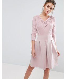 Closet London | Bonded Scuba Skater Dress With Box Pleats