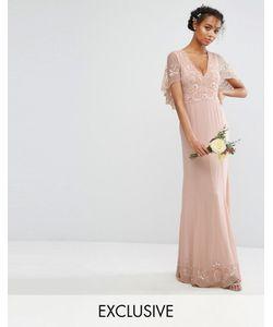 Amelia Rose   Платье Макси С Кейпом С Отделкой И Рельефным Краем