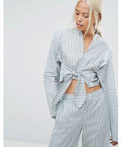 House of Sunny | Комбинируемая Полосатая Рубашка В Пижамном Стиле С Завязкой
