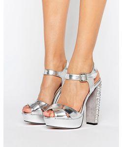 Little Mistress | Satin Diamante Embellished Heeled Sandal