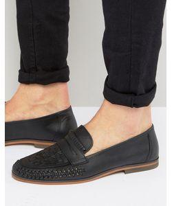 Asos | Черные Кожаные Лоферы С Плетением