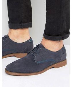 Asos | Темно-Синие Туфли Из Искусственной Замши На Шнуровке С Отделкой