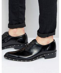 Asos | Черные Кожаные Туфли Дерби С Заклепками