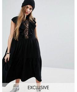 Reclaimed Vintage | Платье Миди С Кружевной Вставкой И Оборками