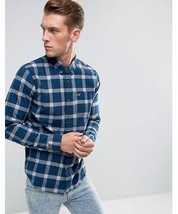 Hollister | Темно-Синяя Облегающая Рубашка В Клетку
