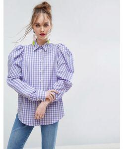 Asos | Клетчатая Рубашка С Объемными Плечами Lilac