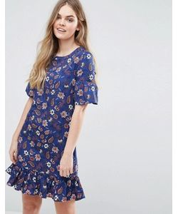 Vila | Printed Drop Hem Shift Dress With Frill Sleeve