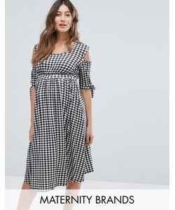 Bluebelle Maternity | Короткое Приталенное Платье В Клеточку С Открытыми Плечами