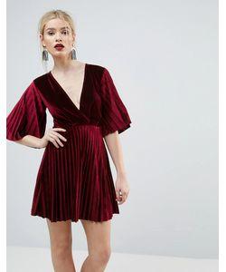 Asos | Бархатное Плиссированное Платье Миди С Рукавами Кимоно
