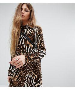 Reclaimed Vintage   Платье С Высоким Воротом И Леопардовым Принтом