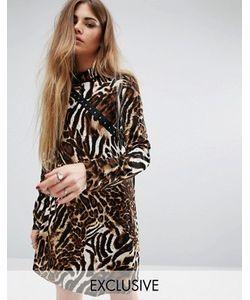 Reclaimed Vintage | Платье С Высоким Воротом И Леопардовым Принтом
