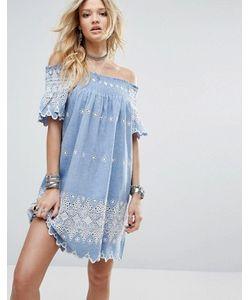 Glamorous | Свободное Платье С Открытыми Плечами И Цветочной Вышивкой