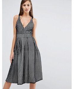 8th Sign | Кружевное Приталенное Платье Миди С V-Образным Вырезом The