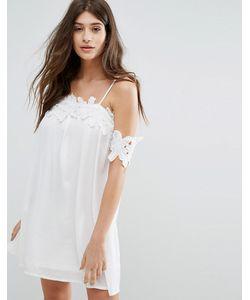 boohoo   Свободное Платье С Открытыми Плечами И Кружевной Аппликацией