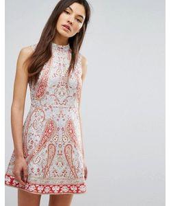 Comino Couture | Платье Мини С Высоким Воротом И Принтом