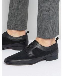 Asos | Черные Кожаные Туфли Дерби С Замшевой Отделкой