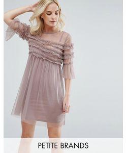 Miss Selfridge Petite | Плиссированное Платье Из Сетки С Оборками