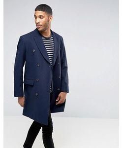 Asos | Темно-Синее Двубортное Пальто Из Шерстяной Смеси
