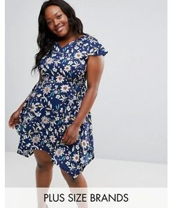 Yumi Plus | Платье С Цветочным Принтом И Асимметричным Краем