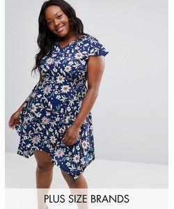 Yumi Plus   Платье С Цветочным Принтом И Асимметричным Краем