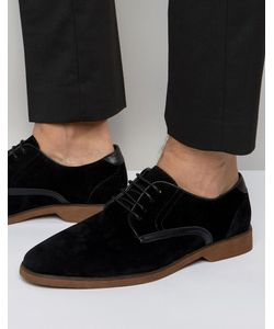 Asos | Черные Туфли Из Искусственной Замши На Шнуровке С Контрастной Отделкой