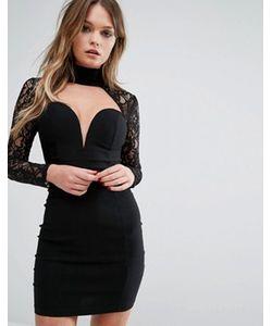 Rare | Облегающее Платье С Вырезом Сердечком И Кружевными Рукавами London