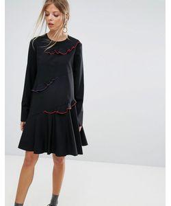 Sportmax Code | Платье С Отделкой Контрастного Цвета На Оборках Emilia