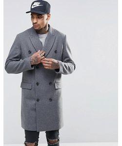 Asos | Двубортное Полушерстяное Пальто В Крапинку