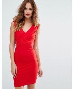 Lipsy | Облегающее Платье С V-Образным Вырезом И Короткими Цельнокройными Рукавами