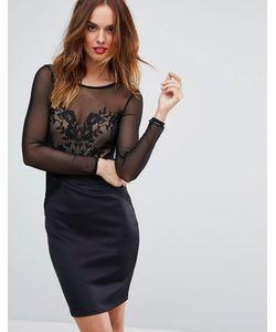 Lipsy | Сетчатое Облегающее Платье С Длинными Рукавами И Вышивкой