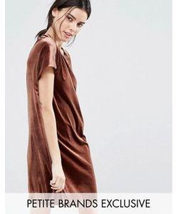 One Day Petite | Бархатное Цельнокройное Платье Мини