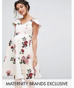 Chi Chi Maternity | Платье С Открытыми Плечами И Цветочным Принтом Chi Chi London Maternity