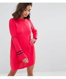 ASOS PETITE | Трикотажное Платье С Расклешенными Рукавами И Отделкой В Спортивном Стиле