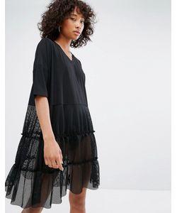 Noisy May   Платье С V-Образным Вырезом И Сетчатой Юбкой