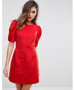 Asos | Приталенное Платье С Пышными Рукавами