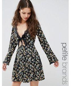 Glamorous Petite | Короткое Приталенное Платье С Цветочным Принтом И Кружевной Отделкой