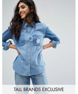 Daisy Street Tall   Джинсовая Свободная Рубашка С Заплатками