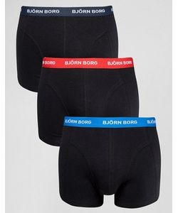 Björn Borg | Bjorn Borg 3 Pack Trunks With Contrast Waist Band