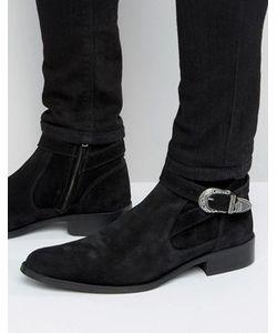Asos | Черные Замшевые Ботинки Челси С Эластичными Вставками