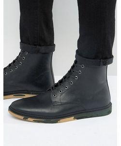 Asos   Черные Кожаные Ботинки На Шнуровке С Камуфляжной Подошвой